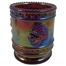 Bob St. Clair Bicentennial Carnival Glass Toothpick Holder Purple Iridescent 1976