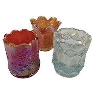 3 Carnival Glass Toothpick Holders Wreath of Cherries by St. Clair Diamond by Imperial and Orange
