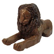 Primitive Clay Folk Art Lion Figurine Signed by Dorlisa Lyons