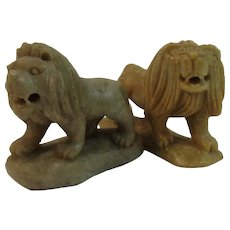 2 Soapstone Lion Figurines Vintage Hand Carved