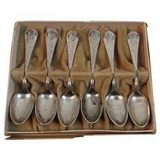 1893 World's Fair Columbian Exposition Souvenir Spoon Set in Original Box Complete Demitasse Chicago