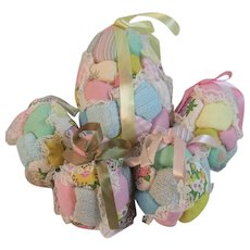 5 1970s Quilt Style Easter Eggs with Ribbons for Hanging as Ornaments Vintage
