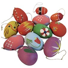 12 Vintage Painted Wooden Easter Egg Ornaments