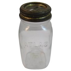 Vintage Atlas Mason Jar Miniature Arc-Lid Bank Glass Hazel