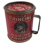 1916 Miss Princine Baking Powder Tin with Handle for Cup and Original Paper Label Half Pound