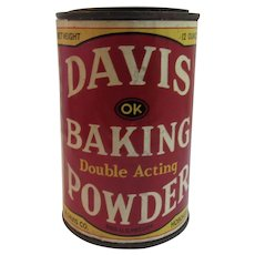 Early Davis Baking Powder Tin with Original Paper Label 12 Ounce Size Hoboken New Jersey
