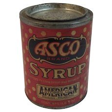 ASCO Paper Label Syrup Tin American Stores Co Early Vintage One Pound