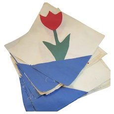 22 Tulip Applique Quilt Squares Vintage Cotton Hand Made