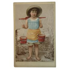 CD Kenny Chromolithograph Ad Trade Card Girl Carrying Water Coffee Chromolitho