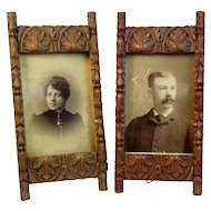 Pair Victorian Carved Wood Frames with Acanthus Leaves Design