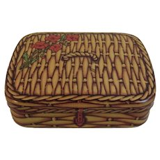 Miniature Swiss Wicker Picnic Basket Tin by Dodo Designs Vintage Toy or Doll Size