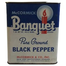 McCormick Banquet One Pound Black Pepper Tin Large with Candle Graphic Bulk Institutional Size