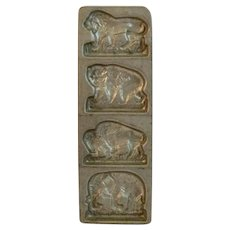 Jungle Animals Chocolate Mold Lion Tiger Water Buffalo Elephant Cast Metal Candy Mould