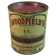 Woodfield's Fresh One Gallon Oyster Tin Large Galesville MD Maryland Vintage Chesapeake Bay Maritime Nautical