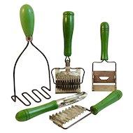 5 Green Handle Kitchen Utensils Wood Masher Cutters Slicer Vintage Original Paint