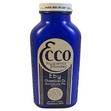 Ecco Powder Cobalt Blue Glass Bottle from Eby Chemical Co Medical Drugstore Apothecary Medicated