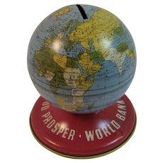 Ohio Art Tin Litho Globe World Bank As you Save So You Prosper Vintage