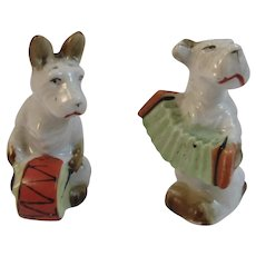 Scottie Dog Musician Salt and Pepper Shakers Drum and Accordion Players Japan