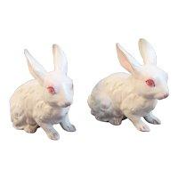 2 Albino Bunny Rabbit Figurines for Easter TII Wayzata Minnesota White Bunnies