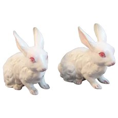 2 Albino Bunny Rabbit Figurines TII Wayzata Minnesota Figurines Japan for Easter White Bunnies