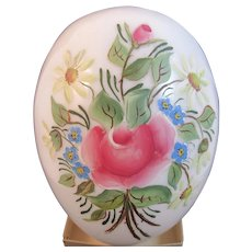 Huge Victorian Milk Glass Easter Egg Hand Painted Blown Rose and Daisy Motif Flowers Floral