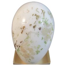Victorian Milk Glass Embossed Easter Egg Hand Painted Blown Cross Flowers Floral Motif