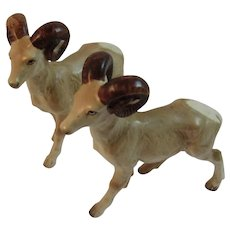 2 Vintage Big Horn Ram Figurines Japan Ceramics White-tailed Mid Century