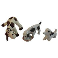 3 Novelty Dog Figurines Chic Pottery Hound Japan Drinking Nodding Nodder Vintage 1930s