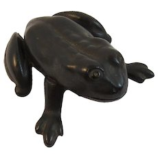Cast Bronze Frog AMAW Made in USA Opens at Hinge Hinged Box