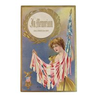 1915 GAR Decoration Day Postcard Lady Tattered American Flag Series No 6 Embossed In Memoriam Civil War Grand Army of the Republic