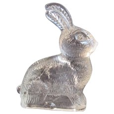 Glass Easter Bunny Rabbit Candy Container Vintage Holiday