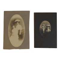 Victorian Ladies in Easter Bonnet Hats Photographs Cabinet Card Photos
