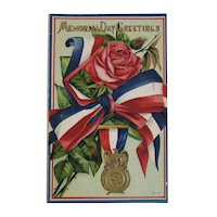 Sons of Union Veterans of the Civil War Memorial Day Postcard Embossed Unused Rose with Ribbon and Medal
