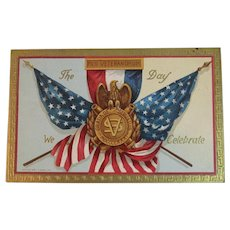 1909 Sons of Union Veterans of the Civil War Memorial Day Postcard Embossed American Flags The Day We Celebrate