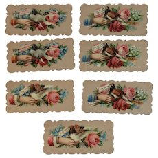 7 Victorian Calling Cards Birds Hands and Roses Die Cut Embossed Pink Red Yellow Rose
