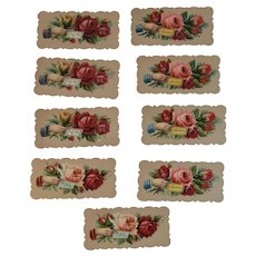 9 Victorian Calling Cards Hands and Roses Die Cut Embossed Pink Red Yellow Rose