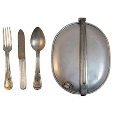 WWI USMC L F & C Mess Kit with Silverware World War I Fork Knife and Spoon Eating Utensils for Soldier