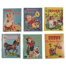 6 Miniature Whitman Tiny Tales Books for Children 1949 1950 Hide and Seek Animal Parade Rover Plush When I Grow Up Steve the Steam Shovel