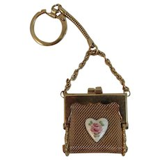 Miniature Mesh Purse with Guilloche Enamel Heart on Keychain Coin Coinpurse Doll