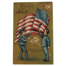 1910 Fourth Of July Greetings Postcard with American Flag Soldiers Firecrackers 4th