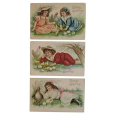 3 ASB German Embossed Easter Postcards Children with Chicks and Eggs Series 238