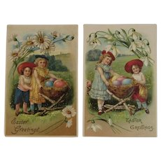 Edwardian German Easter Postcards Children with Egg Baskets on Twig Stands Embossed
