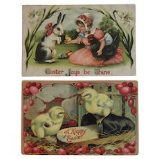 2 German Embossed Easter Postcards Bunny Rooster Child Chicks Ladybug and a Slipper Germany