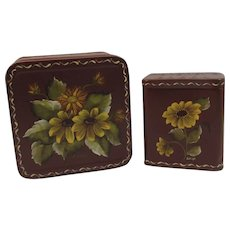 2 Vintage Tole Painted Spice Tins Artist Signed Karen Lehigh Toleware Pennsylvania Folk Art Hershey's Cocoa