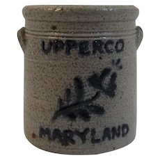 Upperco Maryland Miniature Salt Glazed Crock Cobalt Blue Decorated Stoneware Beaumont Pottery