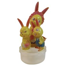 Corwin Plastics Easter Bunny Family Candy Container Vintage Toy Mama and Baby Rabbits