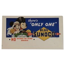 1939 Mickey and Minnie Mouse Just Married Blue Sunoco Ink Blotter There's Only One Driving a Car Walt Disney Productions