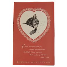 Chessie Valentine Card Bow Tie Inside and Edgar Guest Poem C & O Railroad Chesapeake and Ohio Railway Kitty Cat