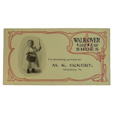 Gettysburg PA Shoe Store Advertising Ink Blotter with Baby Drummer Boy for M.K. Eckert and Walk-over Shoes Walkover