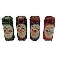 McCormick Schilling Spice Jar Set with Paper Labels Italian Seasoning Barbecue Season All Savor Salt Meat Tenderizer Vintage Kitchen Glass